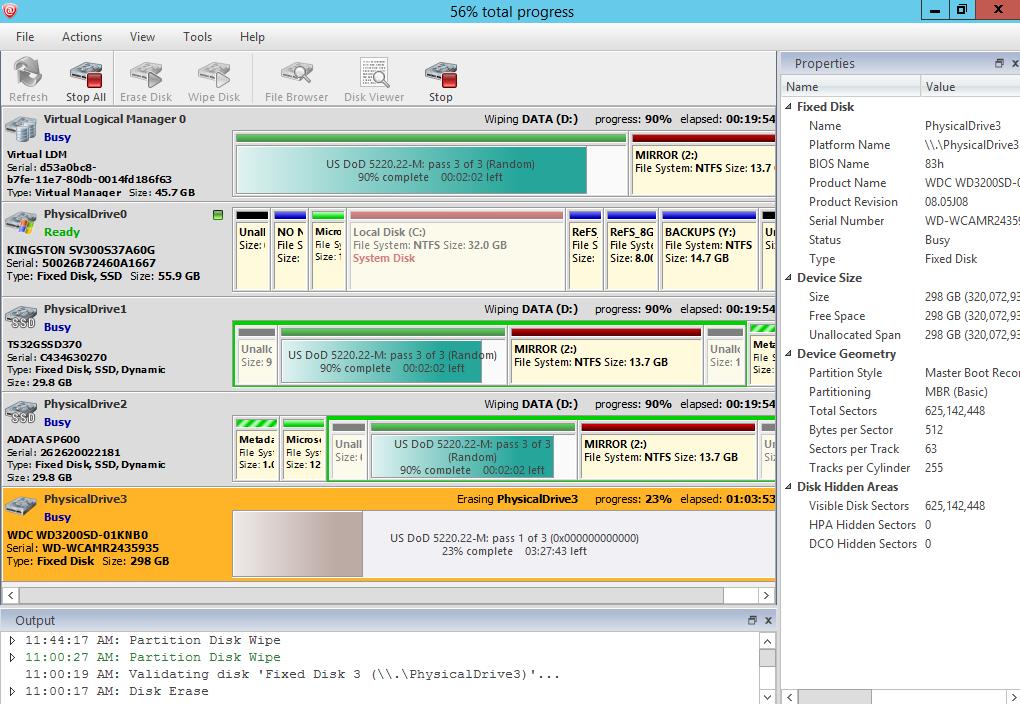 Parallel Disk Erasing is in Progress