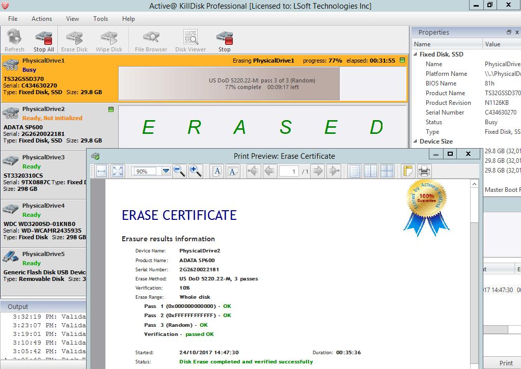 Erasing Complete - Sanitizing Certificate (PDF)