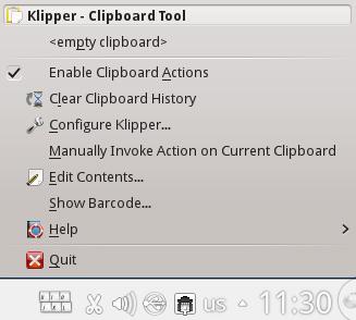 Klipper Clipboard tool