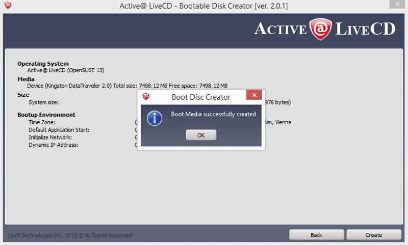 Boot Disk Creator. Active@ LiveCD