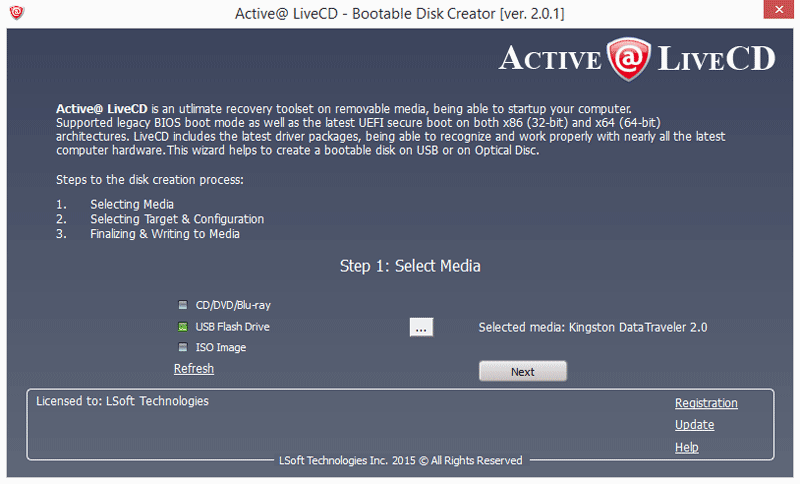 Active@ Boot Disk Creator. USB Flash Drive