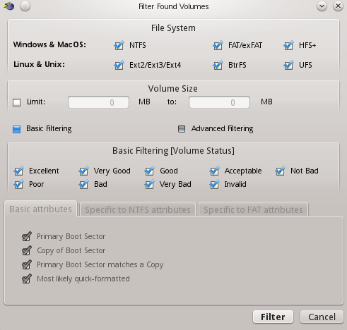 The Filter Found Partitions dialog box appears