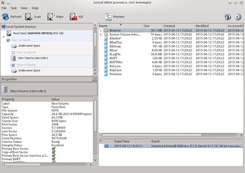 Active@ KillDisk Folders and Files tab