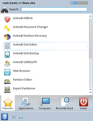 Active@ Disk Editor. Active@ LiveCD shell